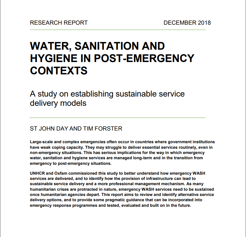 Water, Sanitation and Hygiene in Post-Emergency Contexts: A study on establishing sustainable service delivery models
