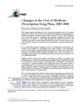 Changes in the Cost of Medicare Prescription Drug Plans, 2007-2008