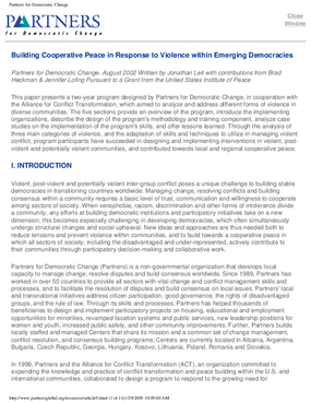 Building Cooperative Peace in Response to Violence in Emerging Democracies
